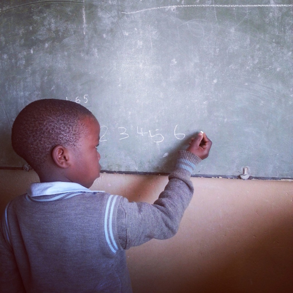 Bonginkosi, 6 years old, showing his skills at Umfudlana School, Mpumalanga. Photographer: Ben Smith