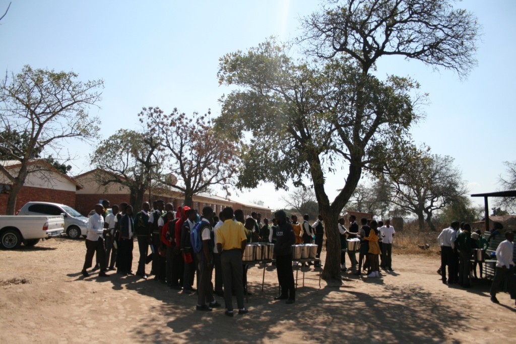 Students queue for their lunch provided by the school - by Mike Creevy