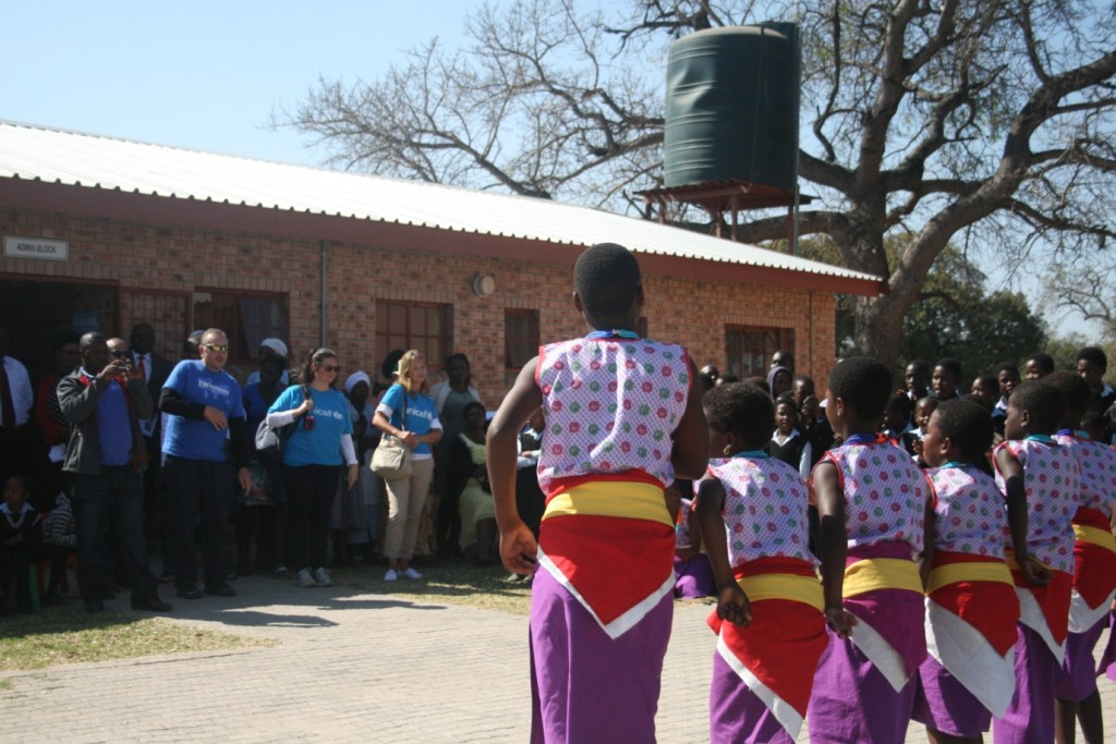 Children from Hokwe primary school perform traditional dance for us - by Mike Creevy