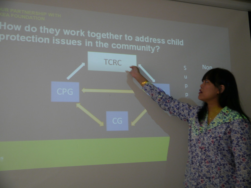 Head of Programme of Save the Children, Thanda Kyaw, gave us a detailed briefing before we meet the children - by Gillian