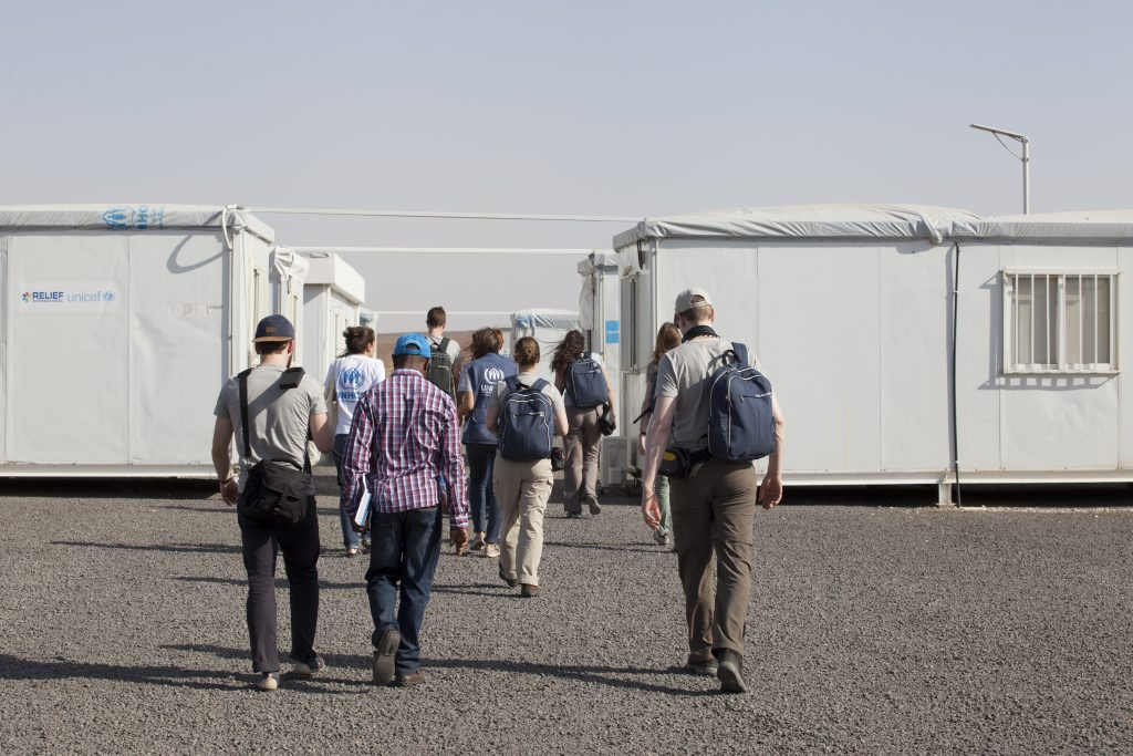 All the organisations (IWitness partipants, IKEA Foundation, UNHCR) are heading in the same direction in Azraq camp: to help the refugees. Picture by Baptiste Collard.