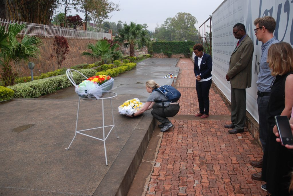 Christie Gregg with Helen Denton, Lisa Sharpe, Sofie Rogers and Felix McCann and UNICEF laying a wreath at the Genocide Memorial, Kigali. Credit: Felix McCann