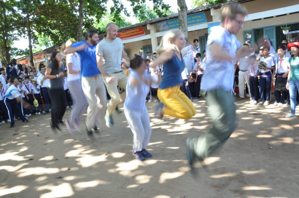 IKEA and Save the Children IWitness group giving its best in the jump roping competition