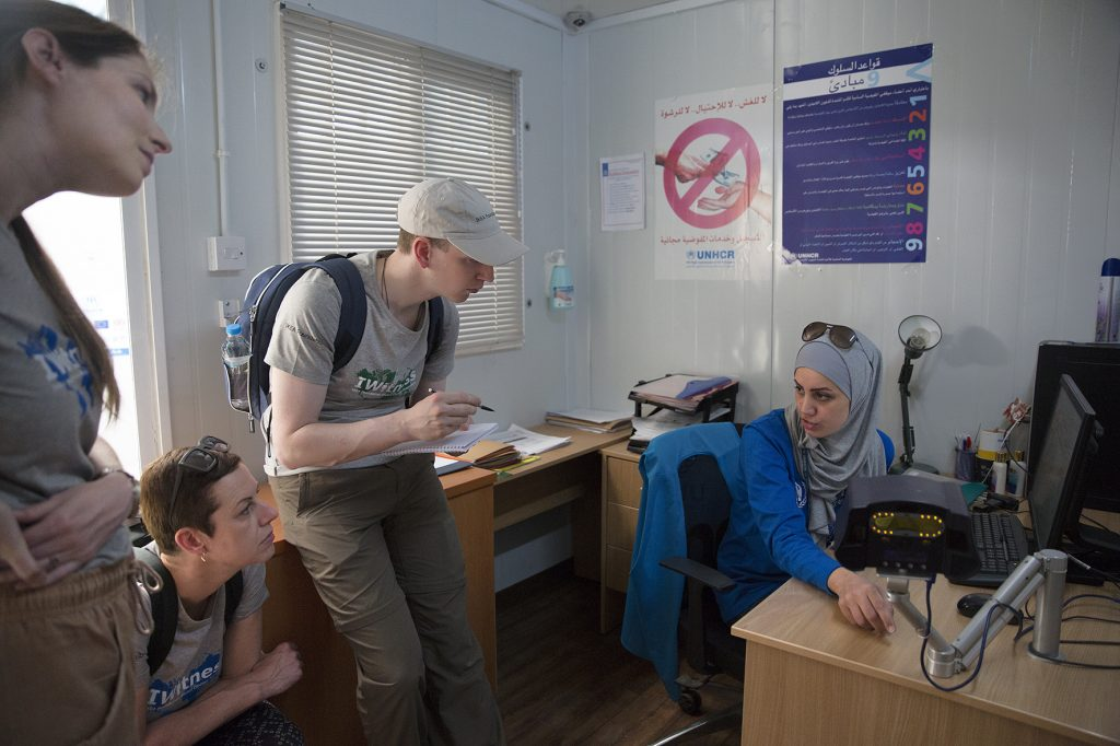Our group is really impressed by this technology and ask a lot of questions of the UNHCR worker. Iris, our colleague, really likes the name of Iris Guard, the name of the system, very well found! Picture by Ann Luyckx.