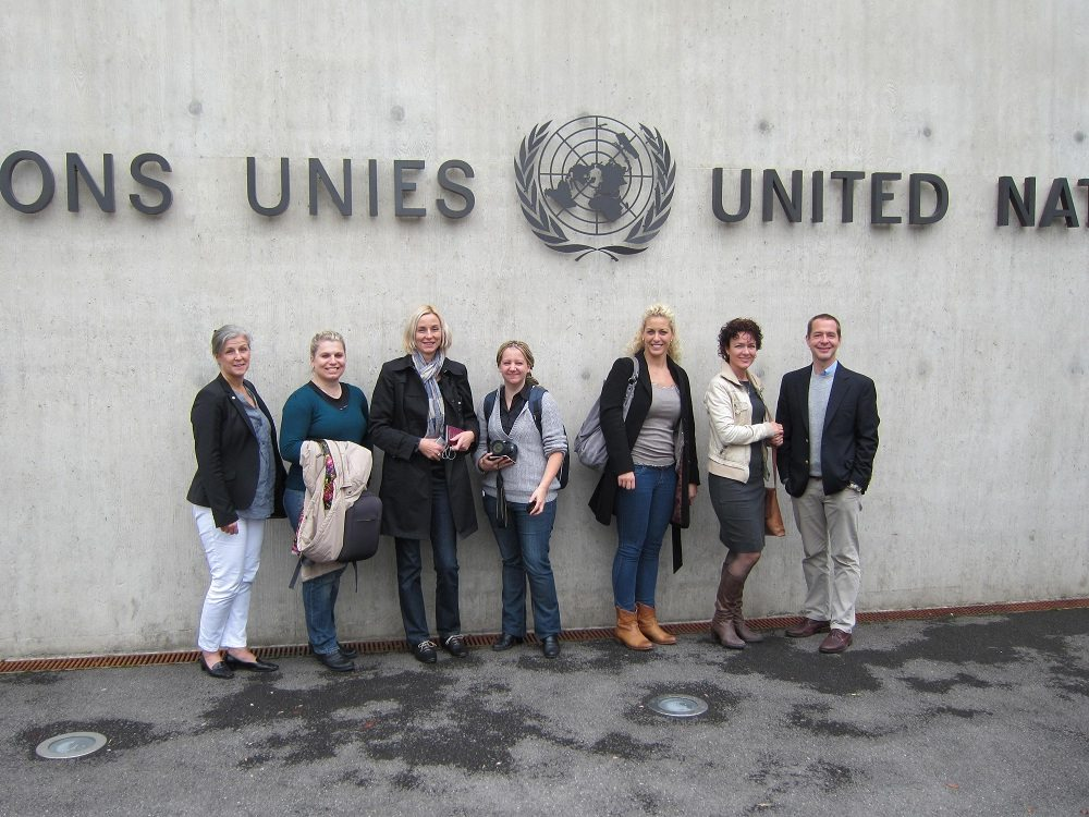 IKEA co-workers and the IKEA Foundation team in front of the United Nations