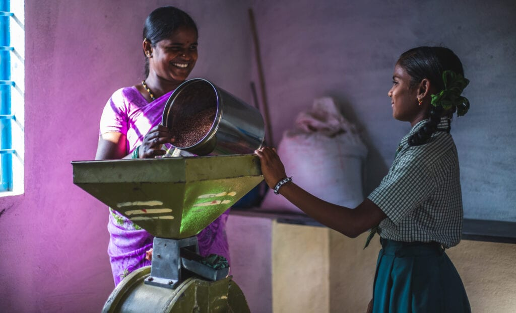 Rajeshwari's mother, Shevamma, owns and runs a solar-powered millet mill