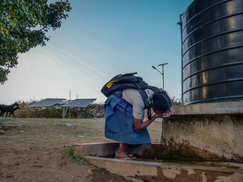 A solar-powered community water pump